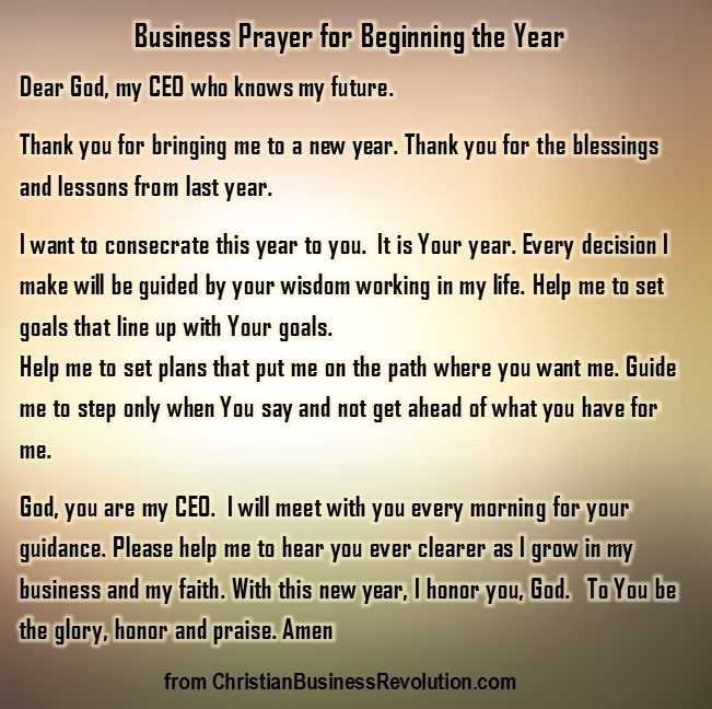 Beginning of Year Prayer for Business